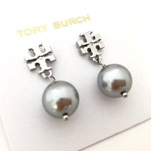 Tory Burch Logo Gray Pearl Silver Drop Earrings